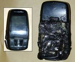 Exploding mobile phones cause danger